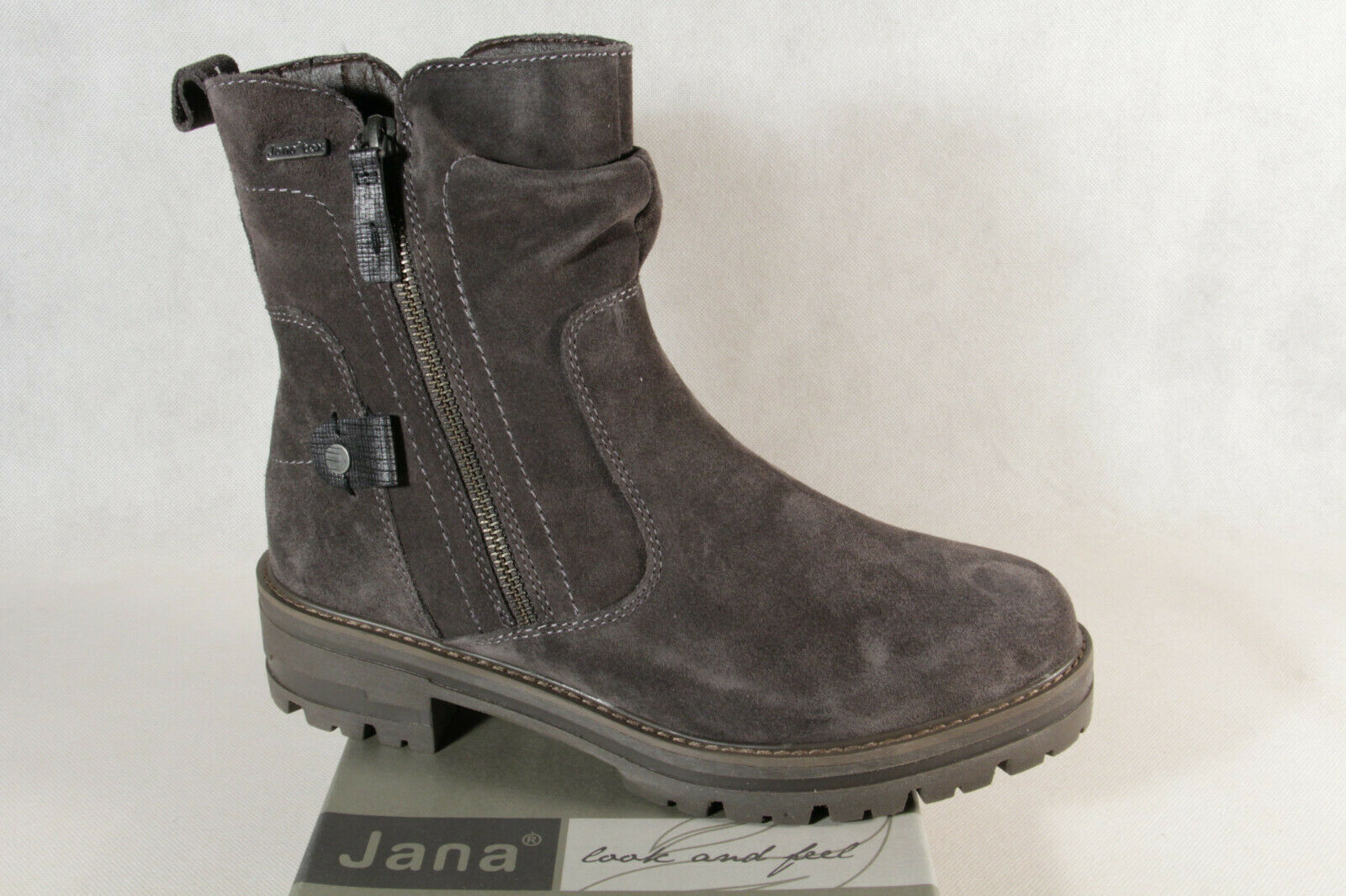 Jana-Tex Damen Stiefelette Stiefel Stiefel Winterstiefel grau Echtleder 26427 NEU