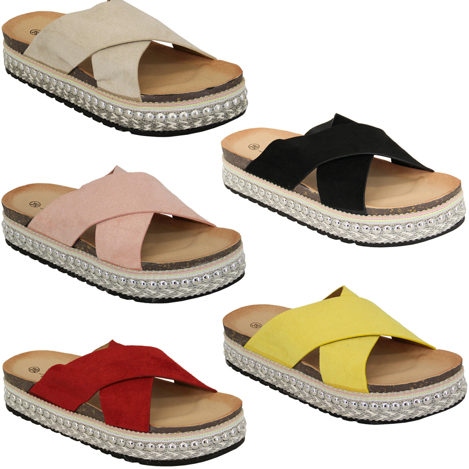 Ladies Suede Look Platform Rope Sandals Womens Espadrilles Wedge Studs Shoes