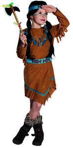 Disfraz Mujer india Namida para niñas salvaje oeste flecos vestido marrón carnaval