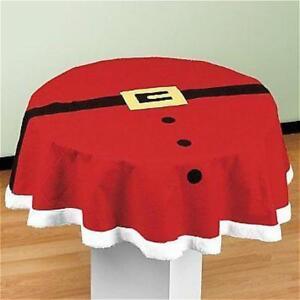Round Plush Christmas Tablecloths Xmas Dining Tabletops Covers Table Cloth Decor Ebay