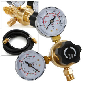 Argon CO2 Regulator Flow Meter Twin Gauge