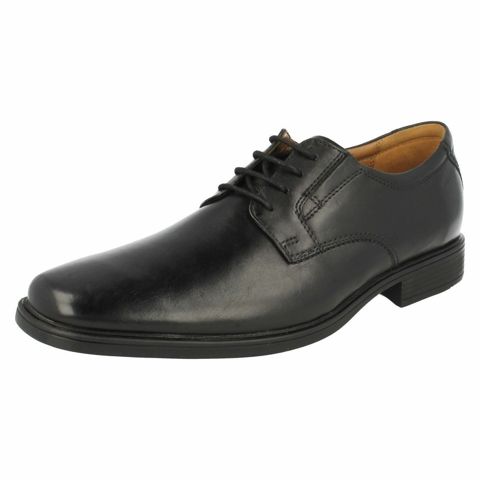 mens TILDEN PLAIN Black Leather lace up shoe By Clarks £49.99