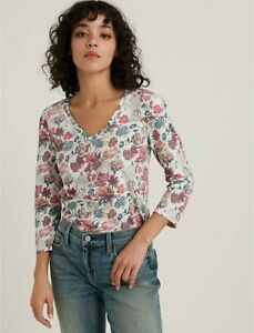 Lucky-Brand-NEW-50-Sz-S-Ivory-Cotton-Floral-Print-3-4-Puff-Sleeve-V-Neck-Top