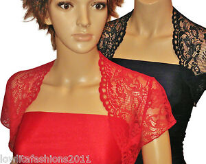 Ladies short sleeve Red or Navy Lace Bridesmaids Bolero Shrug Sizes ... da0e4b78f