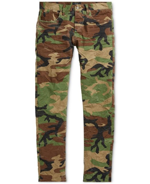 Polo Ralph Lauren Men Rugged Vintage Military Army Camo Slim Pants Jeans