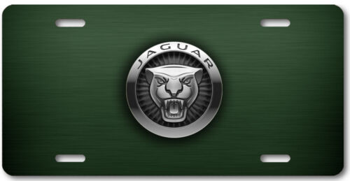 Jaguar Aluminum Metal Car Auto License Plate Tag Abstract Art New British Green