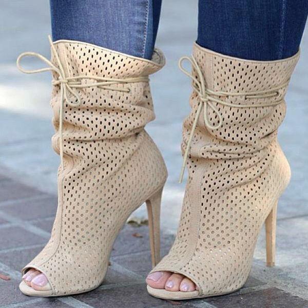 Nude Perforated Open Toe Mid Calf Bootie Heels, US 6 - 11