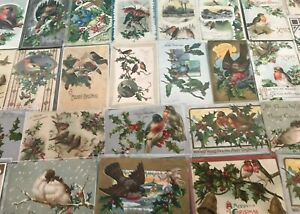 Beautiful-Estate-Lot-of-30-CHRISTMAS-BIRDS-Antique-BIRD-Postcards-p635