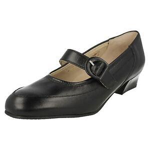 Equity-Para-Dama-Cuero-Negro-Mary-Jane-Zapatos-de-salon-EDITH-Ajuste-E
