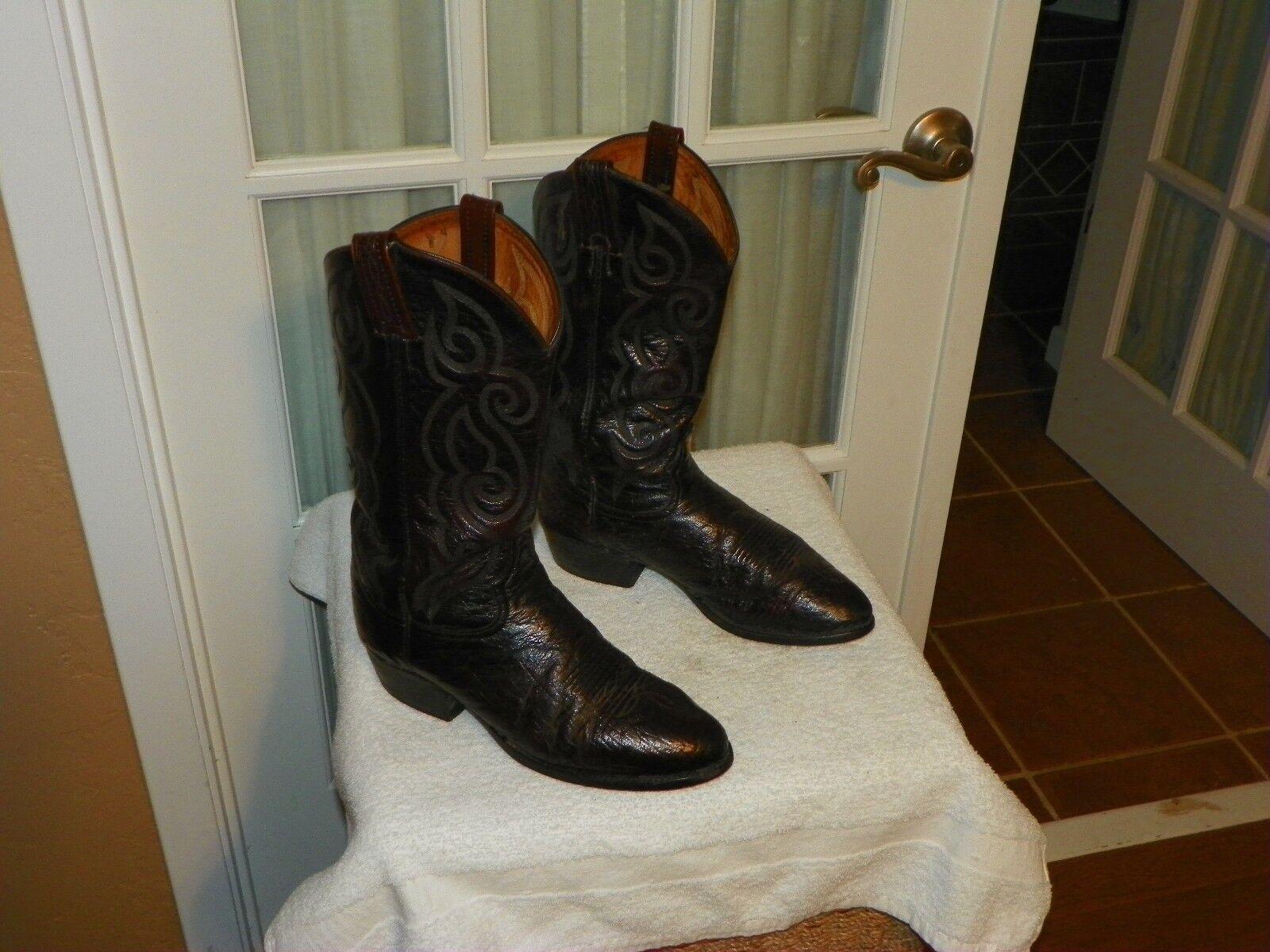 MENS TONY LAMA D3493 BURGUNDY SMOOTH OSTRICH COWBOY WESTERN BOOTS size 9.5 D USA