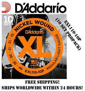 10-SETS-D-039-ADDARIO-EXL110-ELECTRIC-GUITAR-STRINGS-NICKEL-EXL110-10P-10-PACK