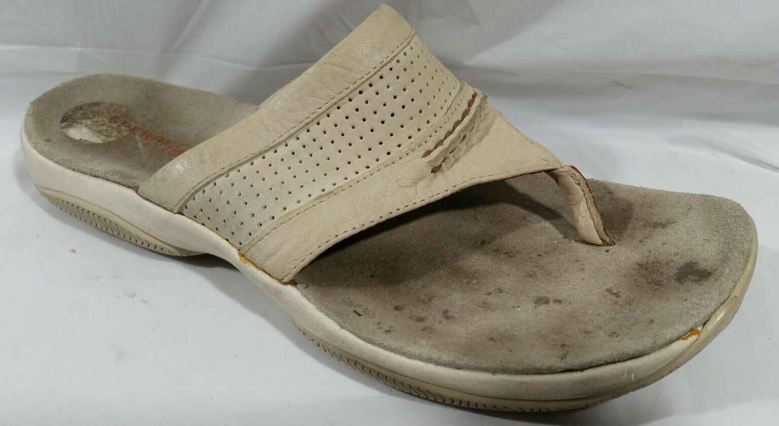 Sperry Womens 6 M Flip Beige Flop Thong Sandals White Beige Flip Leather Open Toe Summer 3cc833