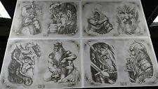 4 x A3 Tattoo flash sheets set 19