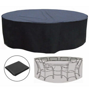 Image is loading Large-Round-Rain-Waterproof-Outdoor-Garden-Patio-Table-  sc 1 st  eBay & Large Round Rain Waterproof Outdoor Garden Patio Table Chair Set ...