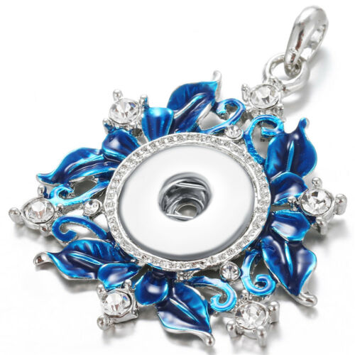 Hot Women Crystal Jewelry Necklace Pendant Fit 18mm Noosa Snap Button N361