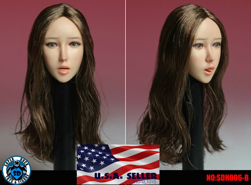 1 6 Female Head Sculpt Open Mouth with Tongue B For Phicen Female Figure ❶USA❶