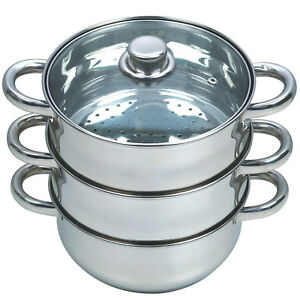27CM-4PC-STEAMER-COOKER-POT-SET-PAN-COOK-FOOD-GLASS-LIDS-3-TIER-STAINLESS-STEEL