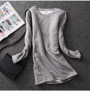 Mujeres-Nina-Lana-Forrada-Calce-Ajustado-Camisa-Blusa-Top-Elastico-Gruesas-Calidas-Invierno-Caliente
