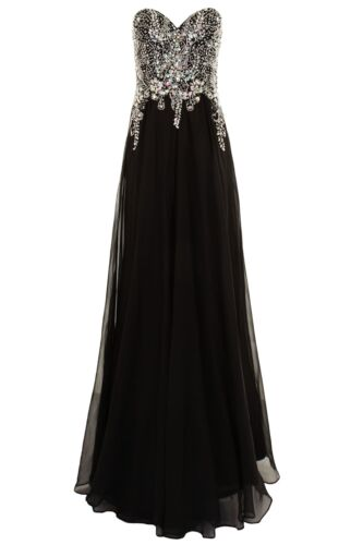 Strapless Long Jewelled Long Evening Ball Gown Chiffon Prom ...