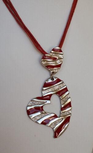 Bänderkette Anhänger Herz 7 cm silberfarben rot Glitzer Streifen *NEU*