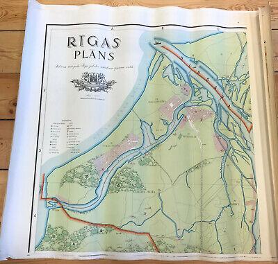 4 sheets set scale 1:10 000 RĪGAS PLĀNS 1937 Vintage office map RIGA