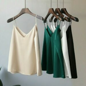 Lady-saten-de-seda-sintetica-Camisola-Camiseta-sin-mangas-Chaleco-Correa-de-cuello-en-V-Camiseta