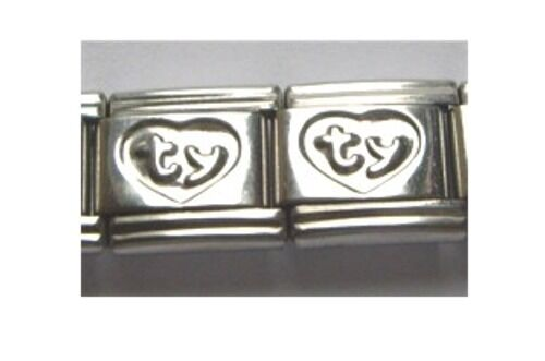 9mm Classic Size Italian Charm  E24 Thank You TY in Love Heart