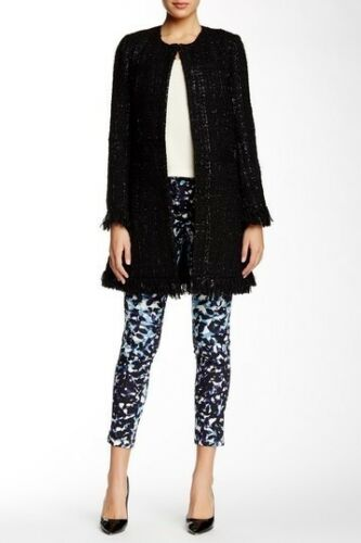 Paris Black Fringe Wool Blend Coat Jacket M Nwt Boucle Sz Tweed Blazer Vertigo OwqWBROd