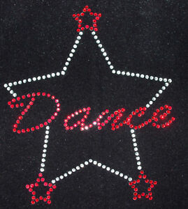 DANCE-3-STAR-RED-iron-on-hotfix-rhinestone-diamante-TRANSFER-applique-patch