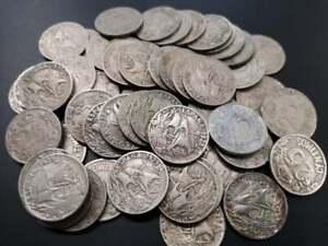 Lote-5-monedas-25-centimos-1925-carabela-Alfonso-XIII-Espana-XF-VG-Spain-coin