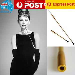 Ladies-1920s-Smoking-Pipe-Filter-Telescopic-Golden-Metal-Slim-Cigarette-Holder