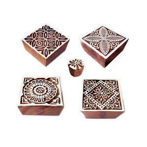 Fabric-Print-Stamps-Crafty-Square-Floral-Shape-Wooden-Blocks-Set-of-5