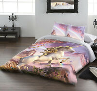 Awesome Unicorn - Duvet Cover Set For Uk Double / Us Twin Bed By David Penfound