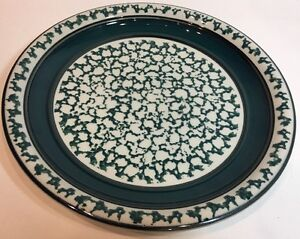 Image is loading Country-Crock-Stoneware-Sponge-Dark-Green-Oven-to- & Country Crock Stoneware Sponge Dark Green Oven to Table Dinner Plate ...