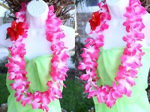 Six Hawaiian Silk Flower Lei Luau Party Hula Necklace Pink White