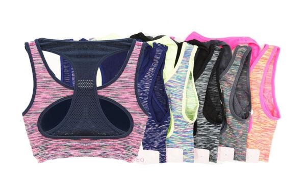 Sport Bh mit Muster Neon Farben Doppel Träger komfortabel NEU 7042 Trend4You