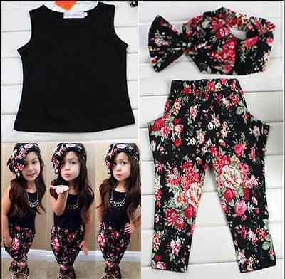 3pcs Toddler Infant Girls Outfits Headband+T-shirt+Floral Pants Kids Clothes Set