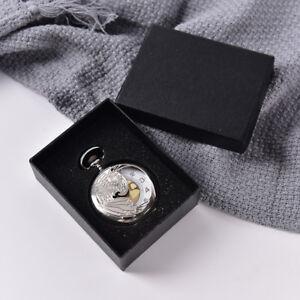Black-Display-Case-for-Single-Pocket-Watch-Jewel-Chain-Storage-Gift-Box-HO