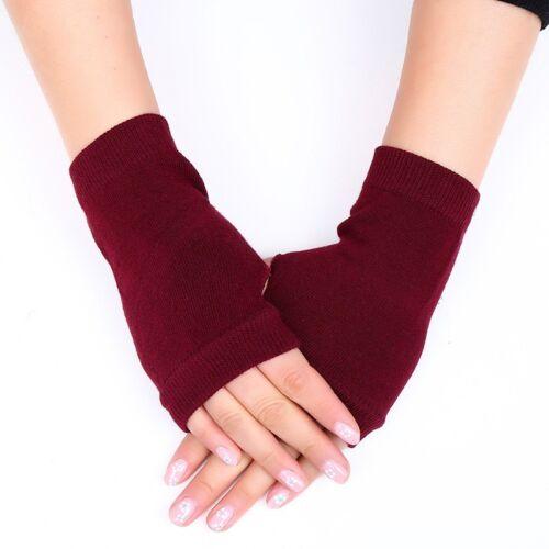 1 Pair Women Cashmere Fingerless Warm Winter Gloves Hand Wrist Warmer Mittens QC