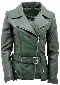 Auschecken schön Design zeitloses Design Details zu Damen Grün Vintage Lang Feminin Leder Bikerjacke