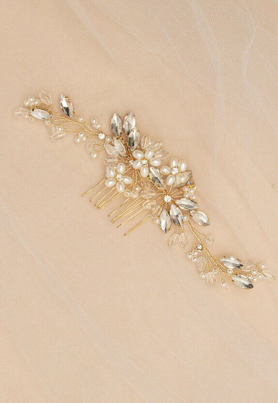 Gold Floral, Pearl and crystal Bridal Hair Comb