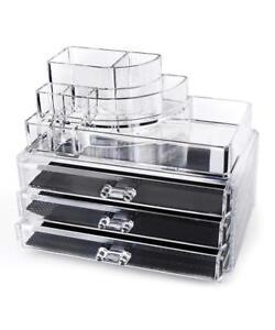 Cosmetics-Organizer-Makeup-Jewelry-Acrylic-Display-Box-Storage-w-Drawers