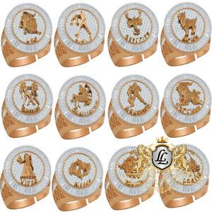 Baguette Mens Zodiac Sign Astrology Horoscope Band Rose Gold Tone Diamond Ring