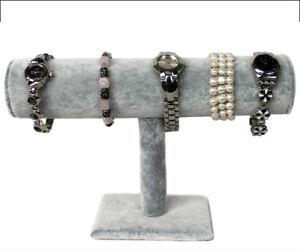 1er Schmuckständer für Uhren Armband Ketten Samt grau