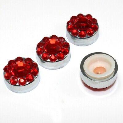 4 Rosso Bling Diamante Cornice Targa Bullone Vite Coperture Tappi Bello E Affascinante