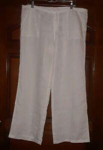 Victorias-Secret-White-Linen-Womens-Pants-Straight-Leg-Pull-Up-Pockets-Size-12
