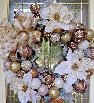 "Christmas Floral Door WREATH DIVA ""Copper Holiday"" Elegant Mix metal Gold Silver"