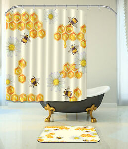 Gold Theme Water-resistant Polyester Fabric Shower Curtain with 12 Hooks