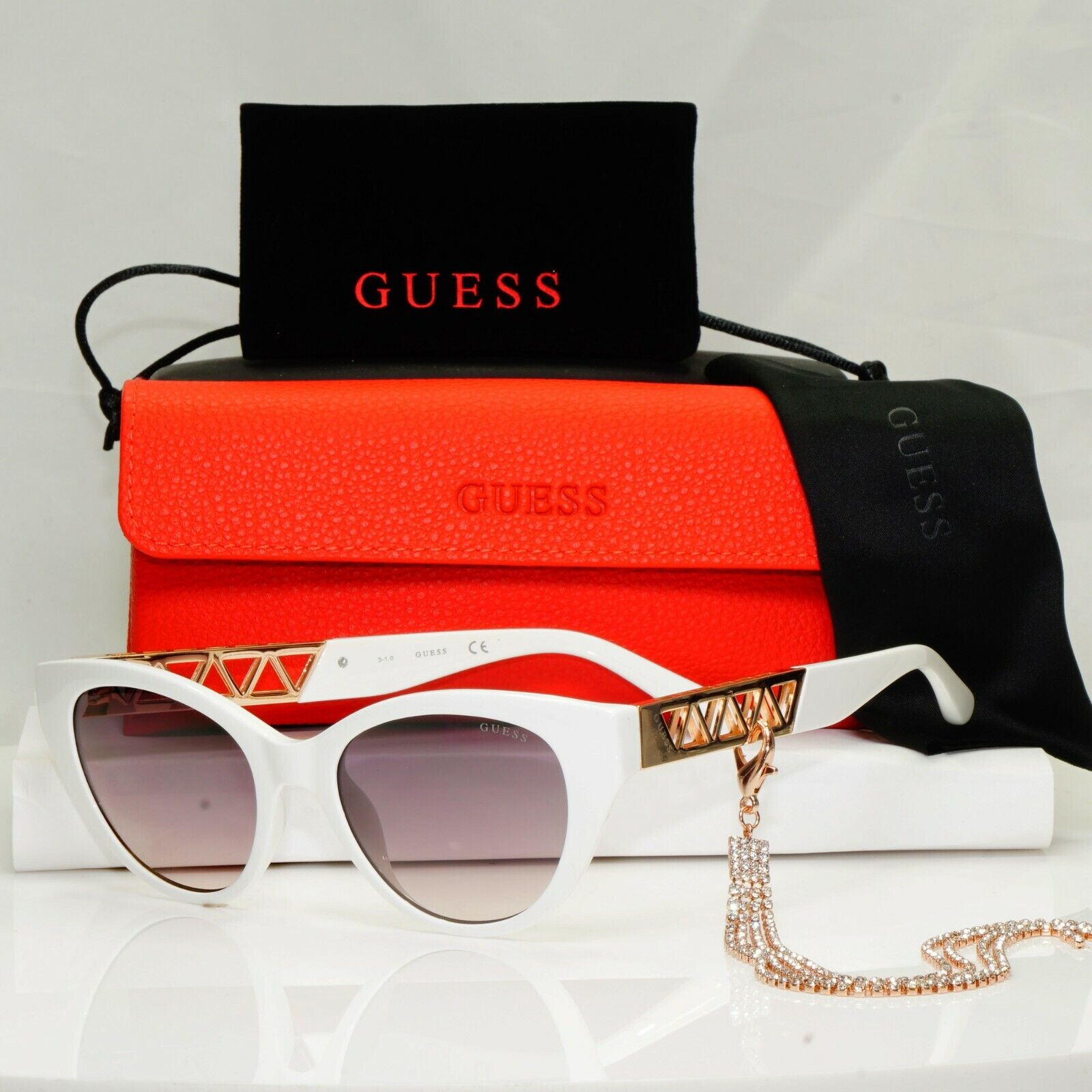 Authentic GUESS Womens Sunglasses White Gold Crystal Diamante Chain GU 7690 21F