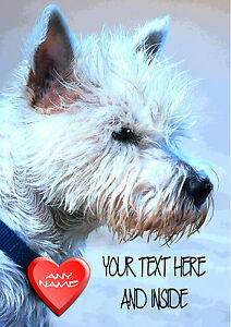 PERSONALISED WESTIE TERRIER DOG ANNIVERSARY BIRTHDAY ANY OCCASION CARD Insert